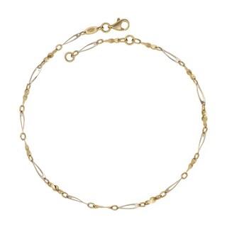 10K Two-Tone Gold  9-10-Inch Fancy Link Anklet