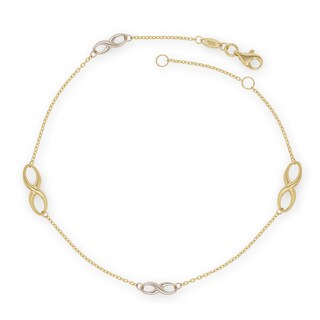 10K Two-Tone Gold 9-10-Inch Infinity Station Anklet