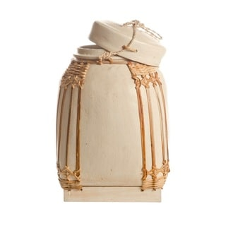 White Medium Decorative NASI Bamboo Storage Containers