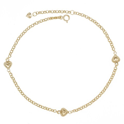 14K Yellow Gold 9-10-Inch Puffed Heart Station Anklet - Orange
