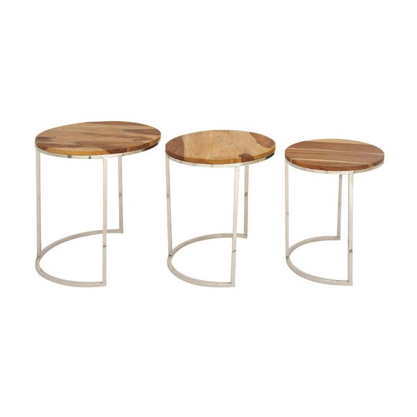 Benzara Attractive Brown Wood Iron Nesting Tables (Set of 3)