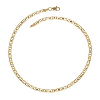 14k Yellow Gold 10-Inch Wide Concave Anchor Chain Anklet