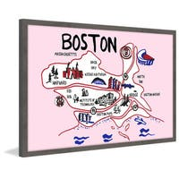 'Boston Iconic Sights' Framed Painting Print