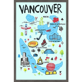 'Vancouver Iconic Sites - Blue' Framed Painting Print