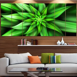 Designart 'Exotic Green Flower Petals' Floral Wall Art on Canvas