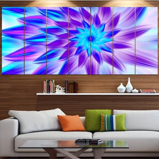 Designart 'Exotic Blue Flower Petals' Floral Wall Art on Canvas