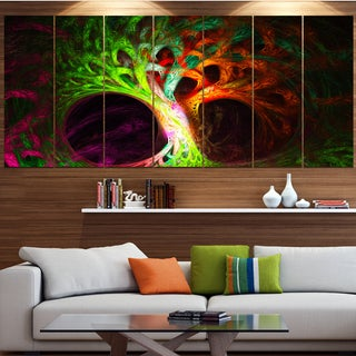 Designart 'Magical Green Psychedelic Tree' Abstract Art on Canvas
