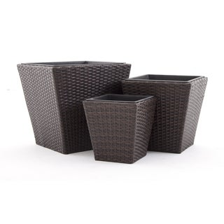 Premiere Square Resin Wicker Planters in Multi-tone Brown - Set of 3