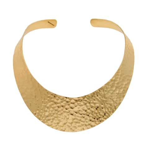 Handmade Alchemia Hammered Neckwire (Mexico) - Gold