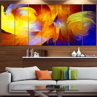 Designart 'Yellow Fractal Abstract Pattern' Abstract Art on Canvas