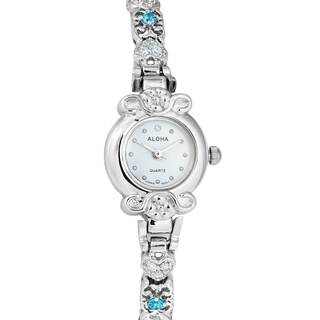 Silvertone Ladies Watch with Cubic Zirconia Band - Silver