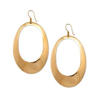 Handmade Alchemia Elongated Oval Hoop Drop Earrings (Mexico) - Gold