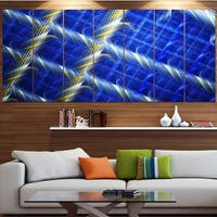 Designart 'Blue Abstract Metal Grill' Abstract Art on Canvas