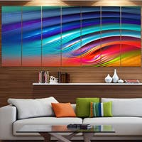 Designart 'Beautiful Fractal Rainbow Waves' Modern Floral Artwork - Multi-color