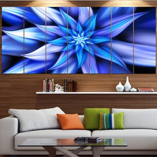 Designart 'Dancing Blue Flower Petals' Modern Floral Artwork