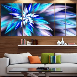 Designart 'Dancing Light Blue Flower Petals' Modern Floral Artwork