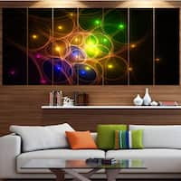 Designart 'Yellow Fractal Space Circles' Abstract Wall Art on Canvas