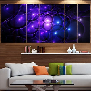Designart 'Blue Fractal Space Circles' Abstract Wall Art on Canvas