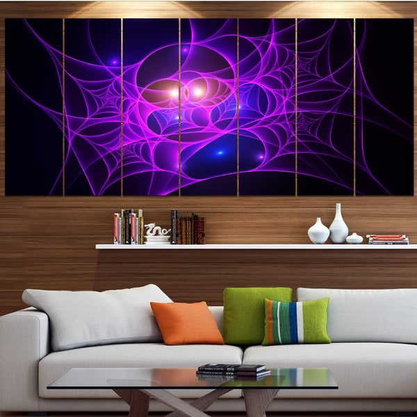 Designart 'Bright Purple Fractal Cobweb' Abstract Wall Art on Canvas