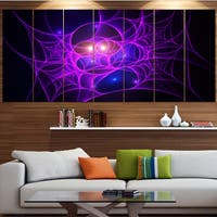 Designart 'Bright Purple Fractal Cobweb' Abstract Wall Art on Canvas