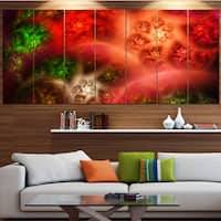 Designart 'Red Magic Stormy Sky' Abstract Wall Art on Canvas