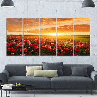 Designart 'Beautiful Poppy Field at Sunset' Abstract Wall Art Canvas