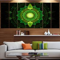 Designart 'Cabalistic Green Fractal Sphere' Abstract Wall Art on Canvas