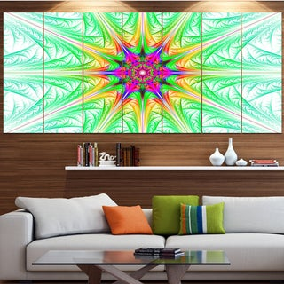 Designart 'Green Fractal Stained Glass' Abstract Wall Art Canvas