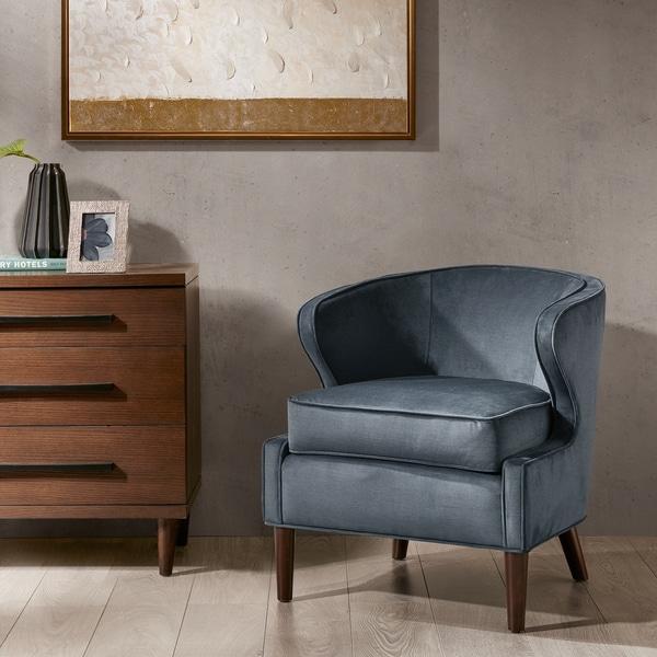 Shop Madison Park Skye Slate Blue Barrel Accent Chair