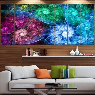 Designart 'Multi-Color Bright Exotic Flowers' Abstract Wall Art Canvas