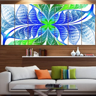 Designart 'Green Blue Fractal Glass Texture' Abstract Wall Art on Canvas