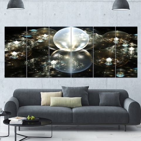 Designart 'Golden Water Drops on Mirror' Abstract Wall Art on Canvas