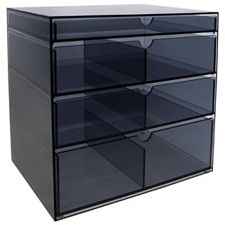 Ikee Design Grey Acrylic Organizer with 4 Drawers