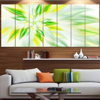 Designart 'Light Green Fractal Spiral Flower' Abstract Wall Art on Canvas