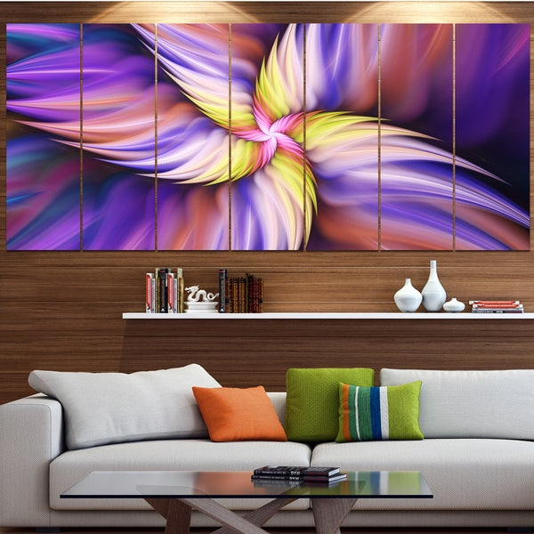 Designart 'Purple Yellow Rotating Flower' Modern Floral Artwork - Purple