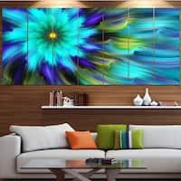 Designart 'Massive Blue Green Fractal Flower' Modern Floral Artwork