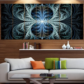 Designart 'Glowing Blue Fabulous Fractal Art' Abstract Wall Art on Canvas