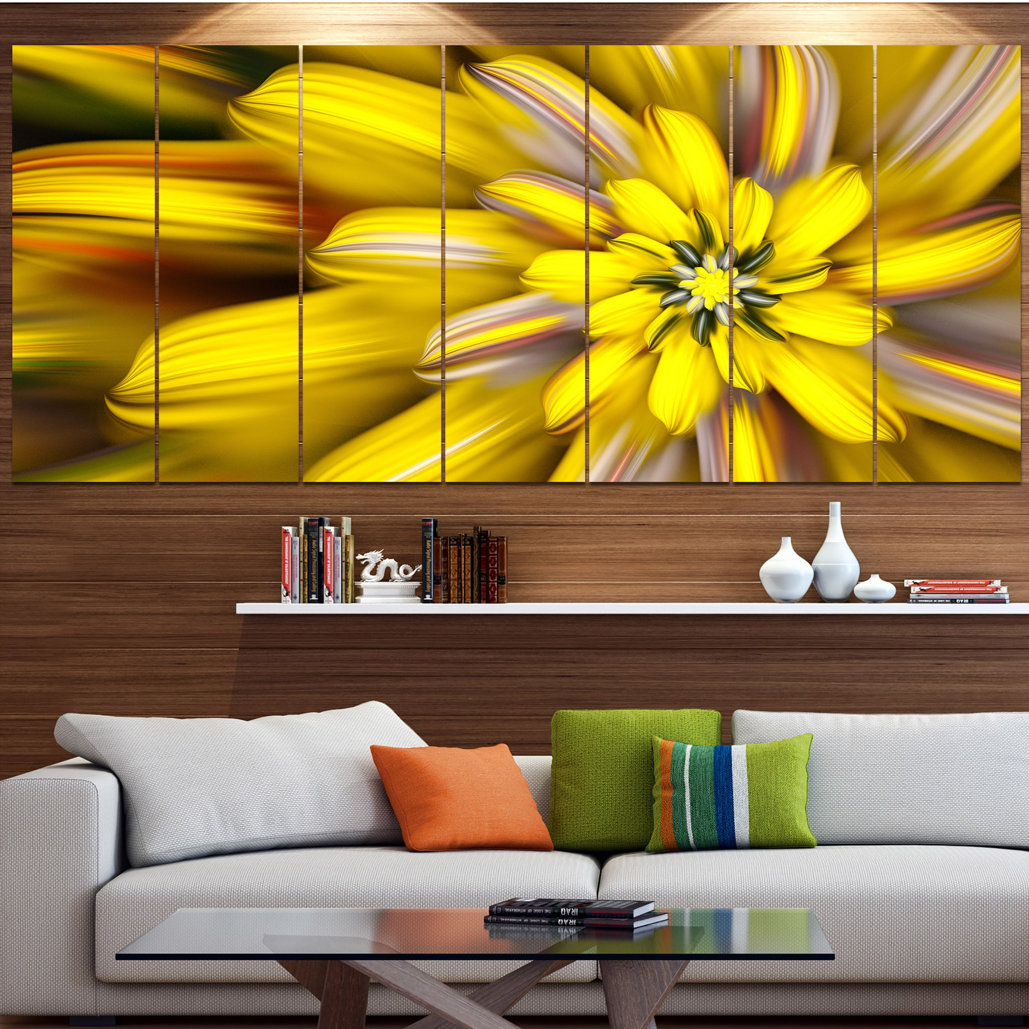 Shop Designart Massive Yellow Fractal Flower Modern Floral