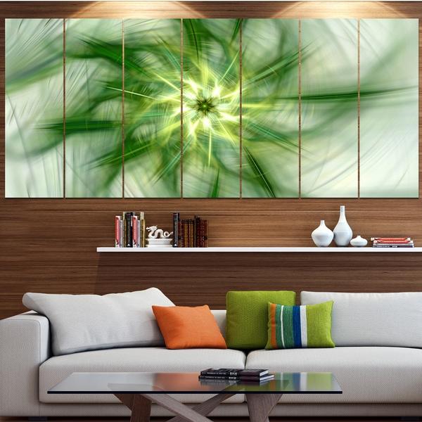 Designart 'Rotating Bright Green Flower' Abstract Wall Art on Canvas