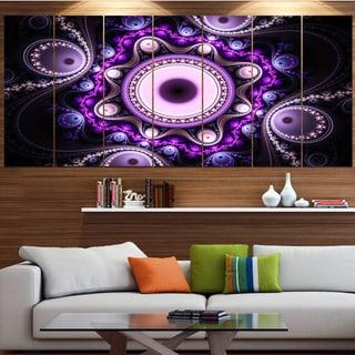 Designart 'Bright Fractal Circles and Waves' Abstract Wall Art on Canvas