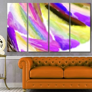 Designart 'Purple Vibrant Brushstrokes' Abstract Wall Art on Canvas