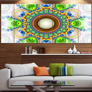 Designart 'Green Fractal Circles and Waves' Abstract Wall Art on Canvas