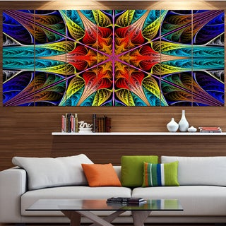 Designart 'Colorful Fractal Stained Glass' Abstract Wall Art on Canvas