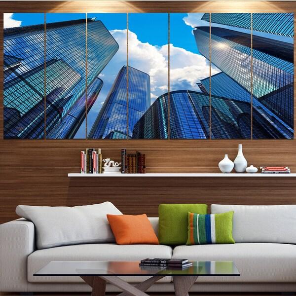 Designart \'Elevated Business Buildings\' Modern Cityscape Wall Art ...