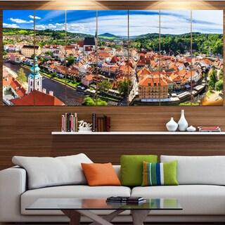 Designart 'City Aerial View Panorama' Modern Cityscape Wall Art