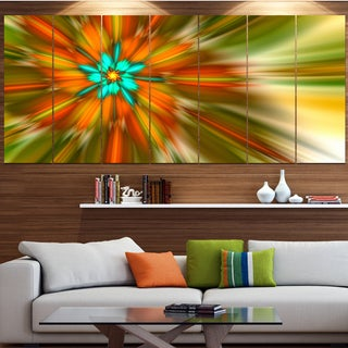 Designart 'Rotating Bright Fractal Flower' Abstract Wall Art on Canvas