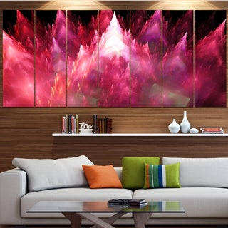 Designart 'Red Fractal Crystals Design' Abstract Wall Art on Canvas