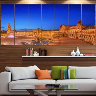 Designart 'View of Spain Square at Sunset' Modern Cityscape Wall Art