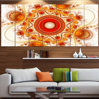Designart 'Orange Fractal Pattern with Circles' Abstract Wall Art on Canvas