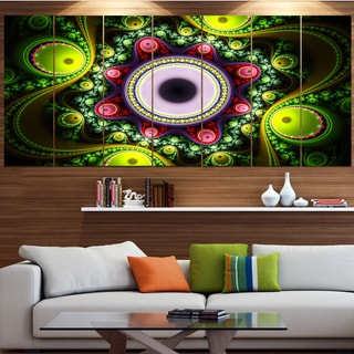 Designart 'Green on Black Pattern with Circles' Abstract Wall Art on Canvas